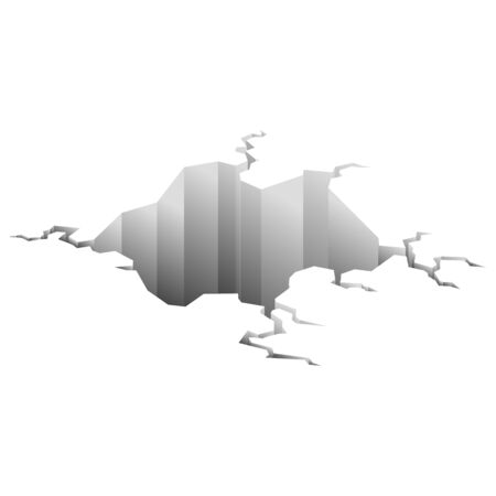Earthquake crack. Hole in ground with cracking and earth destruction cracks isolated vector cartoon. Damage breaks surface isolated on white Ilustração