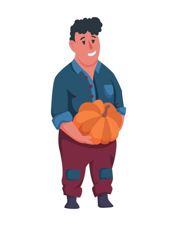 Happy man gardener or farmer with pumpkin in hand on a white background. Cartoon character of man farming concept illustration. Design element of a private farm Illustration