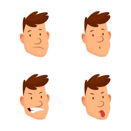 Man face expressions. Set of different male facial emotions. Attractive cartoon character. Sad, tired, laugh, angry and other emotions