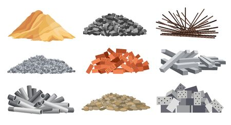 Set of heaps building material. Bricks, sand, gravel and etc. Construction concept. Vector illustrations can be used for construction sites, works and industry gravel