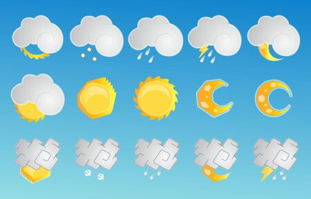 Modern weather icons set. Vector collection of weather forecast sign symbols Vector Illustratie