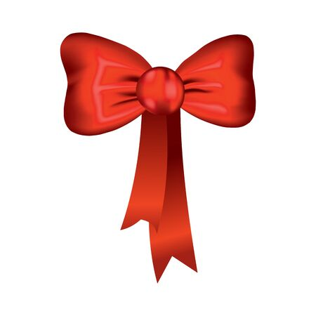 Vector beautiful realistic red bow. Silk style of elegance packing element. Can be use for decoration gifts, greetings card etc