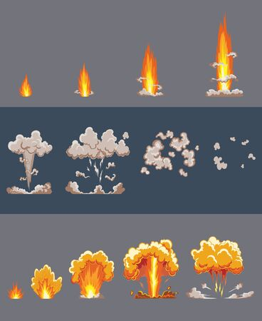 Cartoon explosion effect with smoke. Comic boom effect, explode flash, bomb comic, vector illustration. Explode effect animation. Cartoon bang explosion frames. Animation frames for game