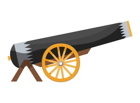 Antique pirate cannon. Vintage gun. Color image of medieval cannon for old ships on a white background. Cartoon style Ilustração