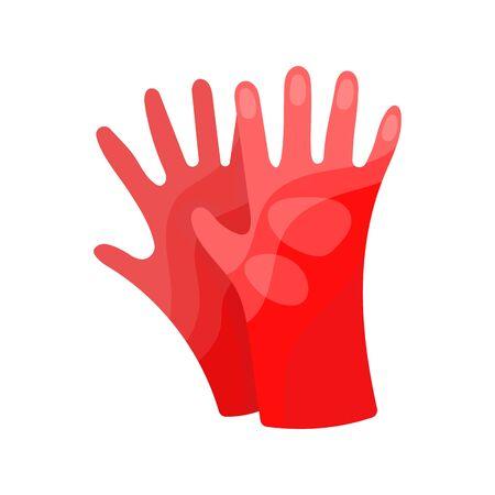 Element of garden set. Agricultural tool for garden care, colorful vector flat illustration. Gardening element gloves.