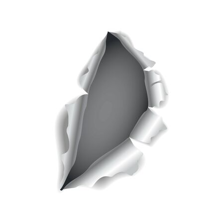 Paper hole. Realistic vector torn paper with ripped edges. Torn hole in the sheet of paper on a dark background. Vector illustration.