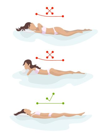 Correct and incorrect sleeping body posture. Position spine in various mattresses. Orthopedic mattress and pillow. Caring for health of back, neck. Comparative illustration. Healthy sleeping position Vectores