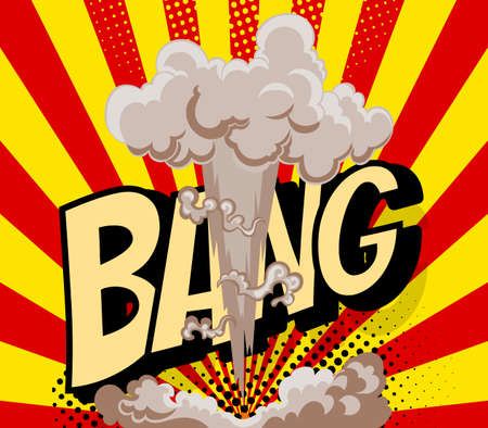 Cartoon explosion effect with smoke. Colorful funny banner in comics book and pop art style. Comic book explosion bang on sunbeam striped background. Çizim