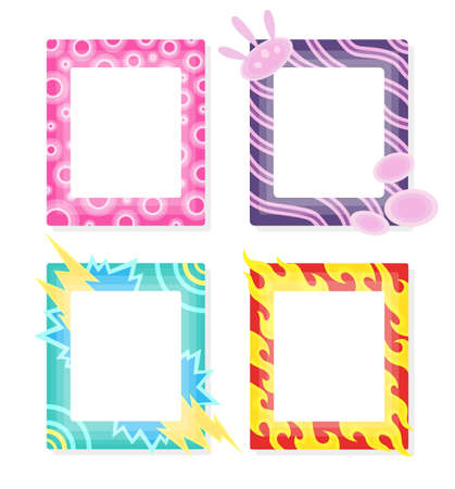 Comic frames in cartoon style. Decorative vector frames template. Scrapbooks design concept. Place to insert your picture.