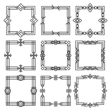 Borders dividers. Decorative black frames. Retro wedding frames, vintage rectangle ornaments and ornate border. Calligraphic design elements and page decoration.