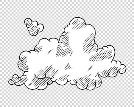 Hand drawn cloud in cartoon style. Doodle sky sketch. Coloring design element. Vector illustration on transparent background.