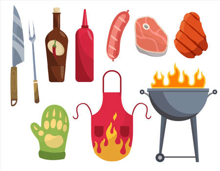 Barbecue icons. Set of elements for grilling. BBQ grill meat, vine , gloves, fork. Everything is ready for a family party