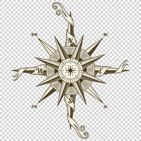 Vintage nautical compass. Old vector design element for marine theme and heraldry on transparent background. Hand drawn wind rose