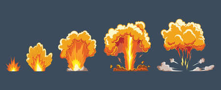 Cartoon explosion effect with smoke. Comic boom effect, explode flash, bomb comic, vector illustration. Frame sprite. Animation frames for game