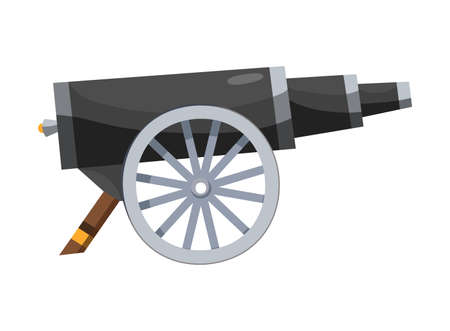 Antique pirate cannon. Vintage gun. Color image of medieval cannon for old ships on a white background. Cartoon style Illustration