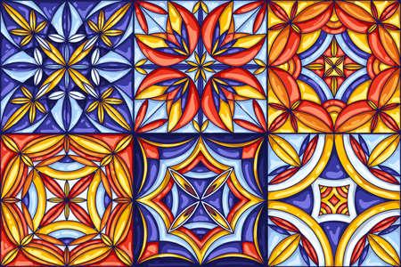 Collection of ceramic tile pattern. Decorative abstract background. Traditional ornate mexican talavera, portuguese azulejo or spanish majolica. Seamless retro vector