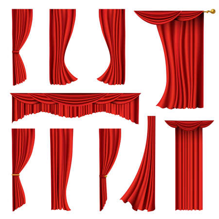 Collection of realistic red curtains. Theater fabric silk decoration for movie cinema or opera hall. Curtains and draperies interior decoration object. Isolated on white for theater stage Ilustrace
