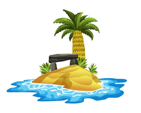 Tropical island. Tropical coast with palm trees and sea waves. The sandy beach on the seashore. Rest in the resort