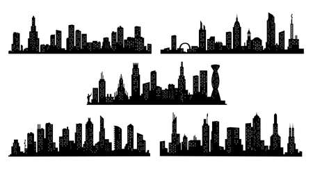 Collection of city silhouettes. Modern urban landscape. Cityscape buildings silhouette on transparent background. City skyline with windows in a flat style  イラスト・ベクター素材