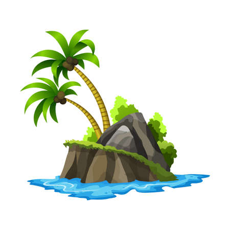 Tropical island. Tropical coast with palm trees and sea waves. Summer landscape of the tropical island with rocky seashore. Rest in the resort
