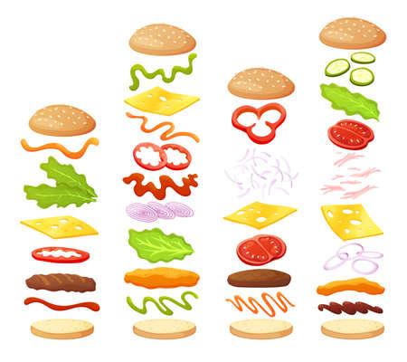 Burger ingredients diy collection. Set of isolated ingredients for build your own burger and sandwich. Sliced vegetables, sauces, bun and cutlet for burger. Vector burger maker Vektorgrafik