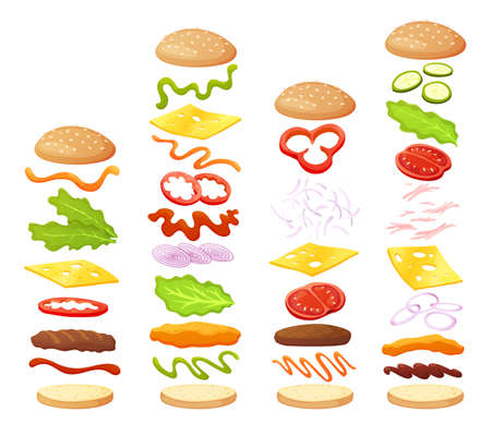 Burger ingredients diy collection. Set of isolated ingredients for build your own burger and sandwich. Sliced vegetables, sauces, bun and cutlet for burger. Vector burger maker