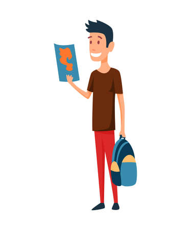 Tourist. Concept of an active lifestyle, tourism. A young man with map and bag in had is looking ahead and smile. Route planning. Vector illustration