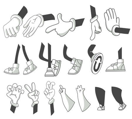 Set of cartoon lags and hands. Clipart arms in different poses. Various hands with different gesture. Vector walking feet in various positions. Legs in boots and gloved hands