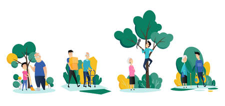 Social workers taking care about seniors peoples. Volunteer young people help elderly mans and womans in different situations. Vector flat cartoon illustration