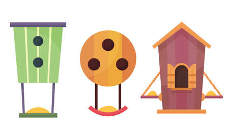 Bird houses. Cartoon vector birdhouse or wooden house for birds. Set of hanging nesting boxes for garden and home decor in flat design. Decorative flat vector elements for posters or banners