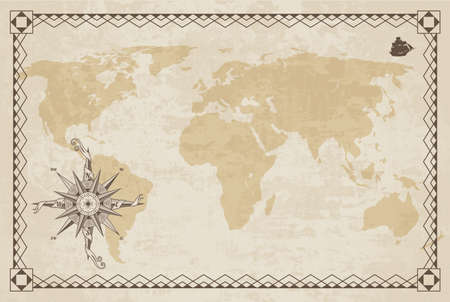 Old world map. Vector paper texture with border frame. Wind rose. Vintage vautical compass. Retro design banner. Decorative antique museum picture with border  イラスト・ベクター素材