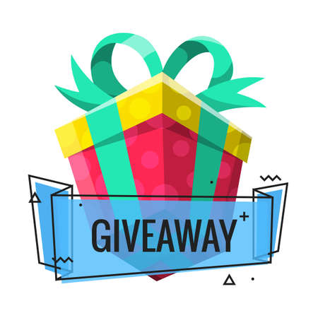 Giveaway winner present. Gift poster for social media post. Internet give away poster for bloggers prize announcement random quizes flyer leflet on white background