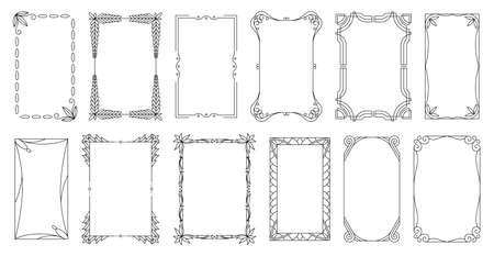 Decorative frames and borders standard rectangle proportions backgrounds. Vintage design elements set. Ornate calligraph frame Illustration