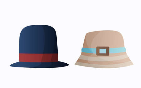 Headwear. Clothes accessories panama headgear. Fashion headwear for ladies and gentlemen vintage or classic. Unisex vintage elegant headwear