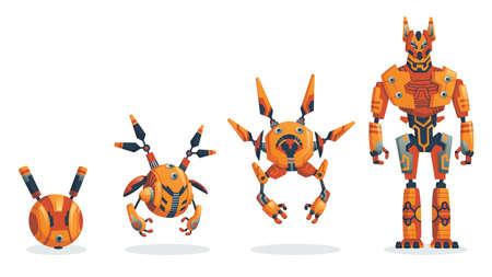 Robots. Evolution of robots concept. Vector isometric robots from simple single-task machine to modern service robotics. Artificial intelligence, alien machine