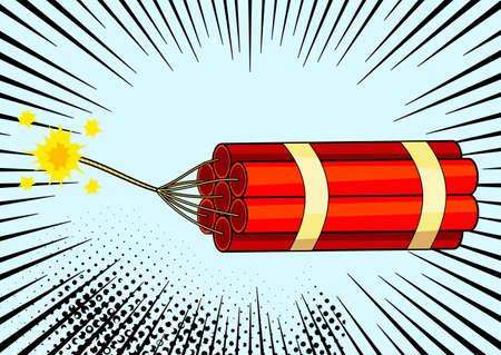 Pop art bomb on comic pop art retro style background. Terrorism is a danger of destruction. Wallpaper cartoon dynamite at background with dots halftone and sunburst
