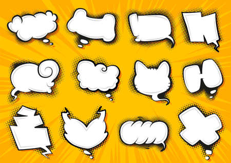 Comic style speech bubbles collection. Speech balloons and elements set. Funny vector design elements. Vector cartoon illustrations isolated on white background