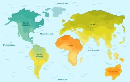 Vector illustration world map for children. Continents America Europe Asia Africa