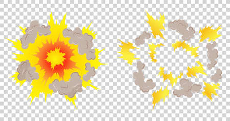 Cartoon explosion animation frames for game. Boom storyboard comics design. Hand drawn vector illustration. Exploding effect frames