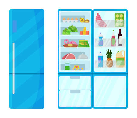 Refrigerator with food. Fridge full food. Open and closed refrigerator, flat vector image. Keep food fresh vegetables and fruits