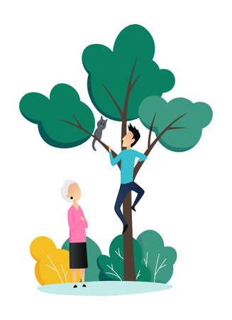 Social worker taking care about seniors people. Volunteer young people help elderly woman remove a cat from a tree. Vector flat cartoon illustration