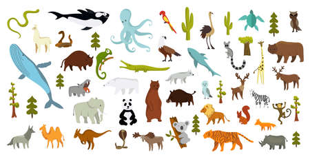 Cute animal vector illustration icon set isolated on a white background. Hand drawn animals. Icons for children with lots of animals bear elephant whale monkey giraffe. America, Europe, Asia, Africa