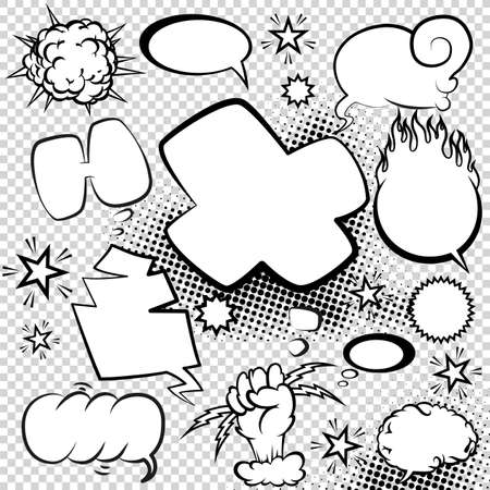 Comic style speech bubbles collection. Speech balloons and elements set with halftone shadows. Funny vector design elements 矢量图像