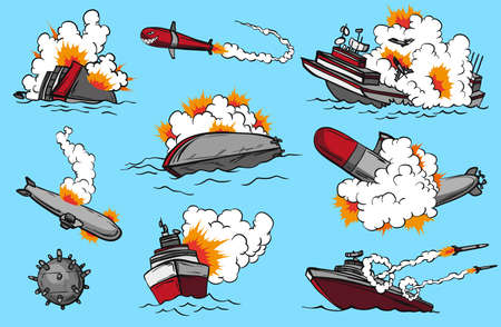 Comic book warships set. Collection of ships that launch missiles or explode. Military action. Pop art concept icons for comic book page or app decoration Vektoros illusztráció