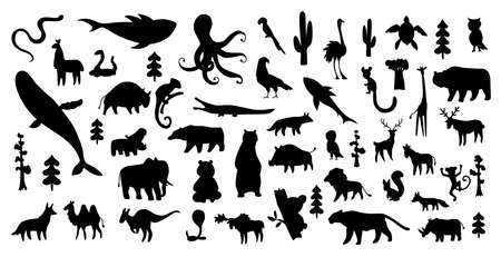 Cute animal vector illustration icon set isolated on a white background. Hand drawn animals. Icons for children with lots of animals bear elephant whale monkey giraffe. America, Europe, Asia, Africa 矢量图像
