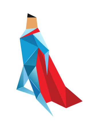 Superhero low poly. Vector polygonal illustration of super hero, origami style icon, modern cartoon man character