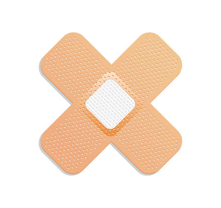 Medical plaster. Adhesive bandage or sticking plaster. Medical band aids protection patch for first aid. Protection and care. Vector cartoon plaster on white background