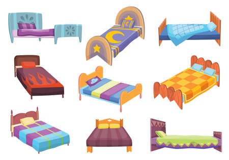 Cartoon beds collection. Vector illustration of color beds with pillow and covers. Icons of furniture Vector Illustratie