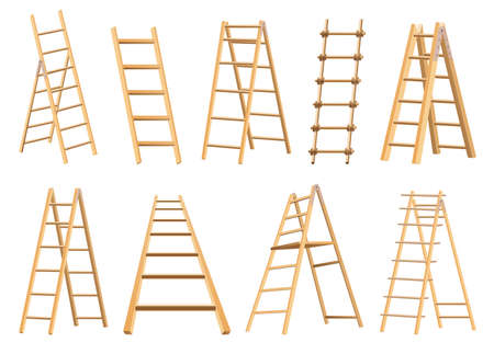 Set of wooden ladders household tool. Step ladders for domestic and construction needs. Isolated vector illustration