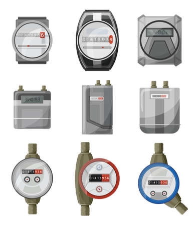 Meters counters. Electric power, gas, water meter vector cartoon set icon. Isolated symbol collection on white background